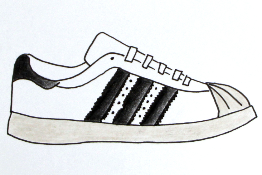 Adidas Superstar. Zeichnung: facebook.com/snkr.art