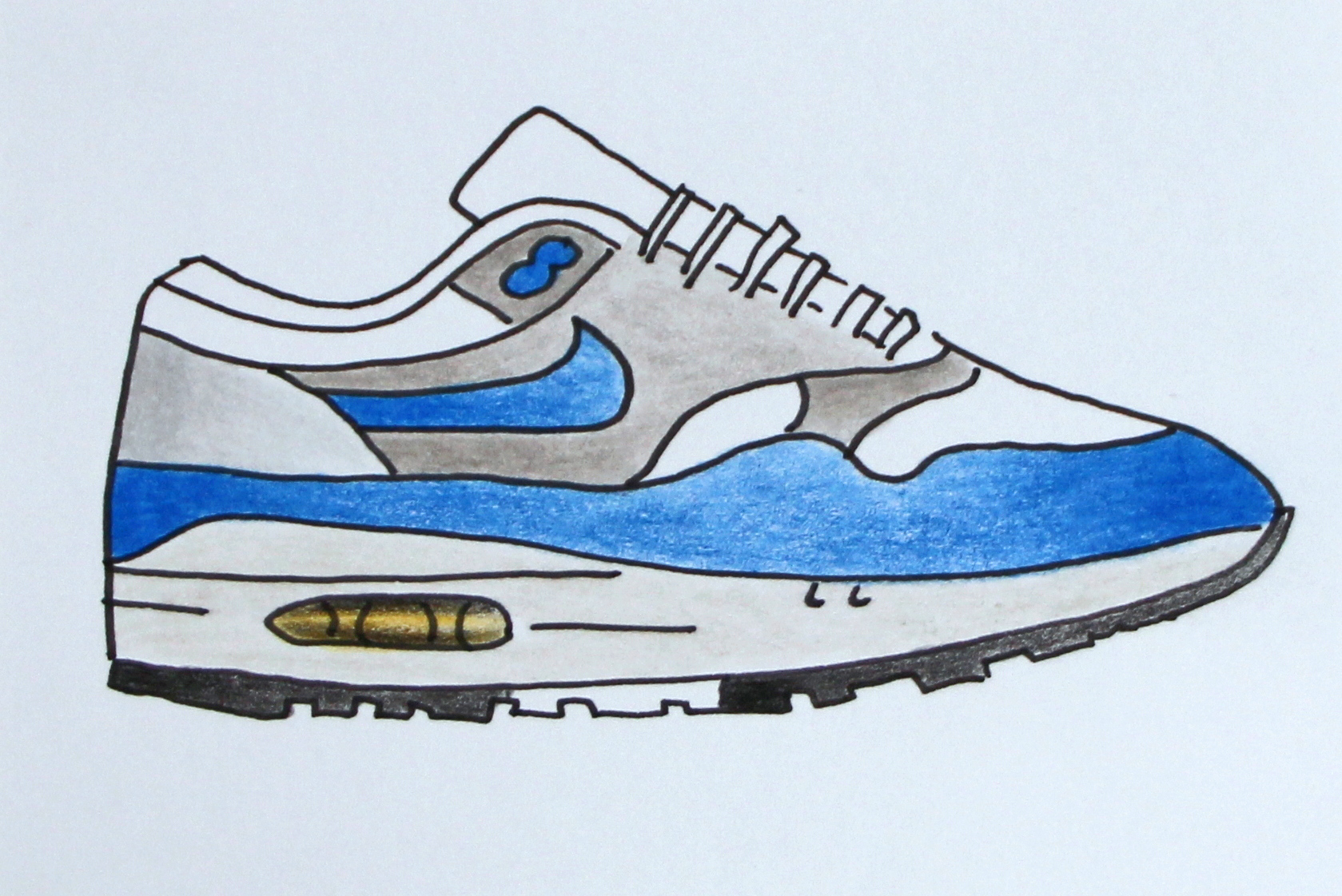 Air Max 1. Zeichnung: facebook.com/snkr.art